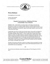 Image of Press Release from Central Boiler